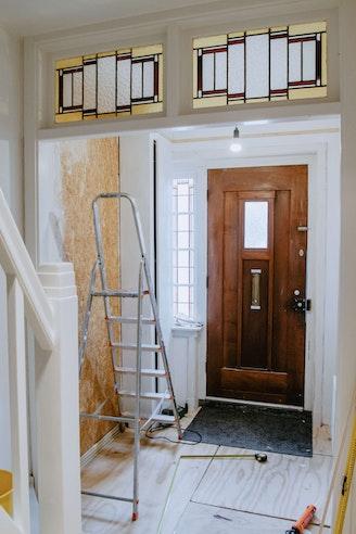 [wood flooring hardwood floor handrail banister door plywood interior design indoors] Hal makeover glas in lood