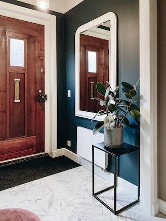 [] hal hague blue visgraat marmer spiegel